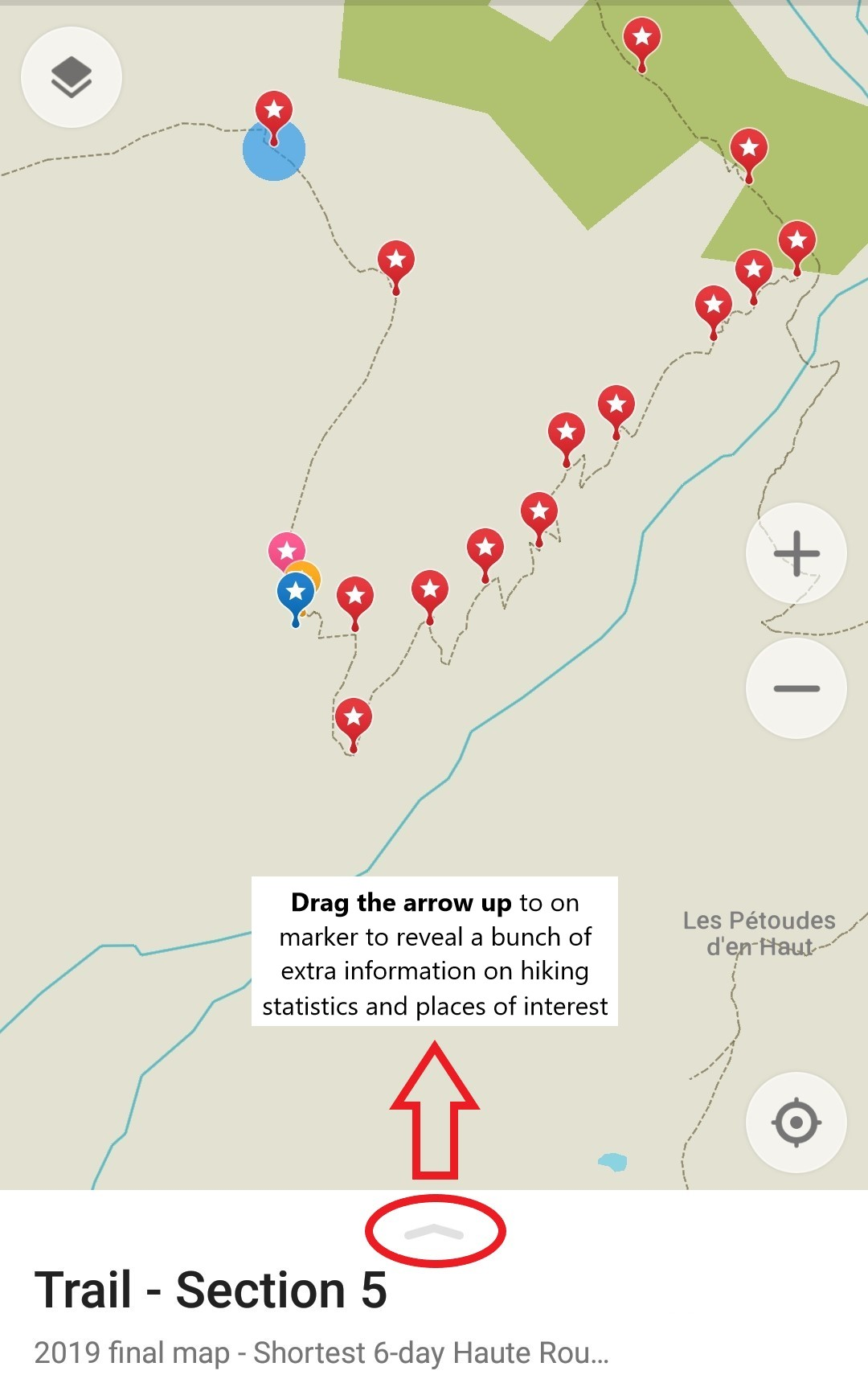 Image 20:  Click on a yellow or red trail marker and drag this arrow up to see trail information