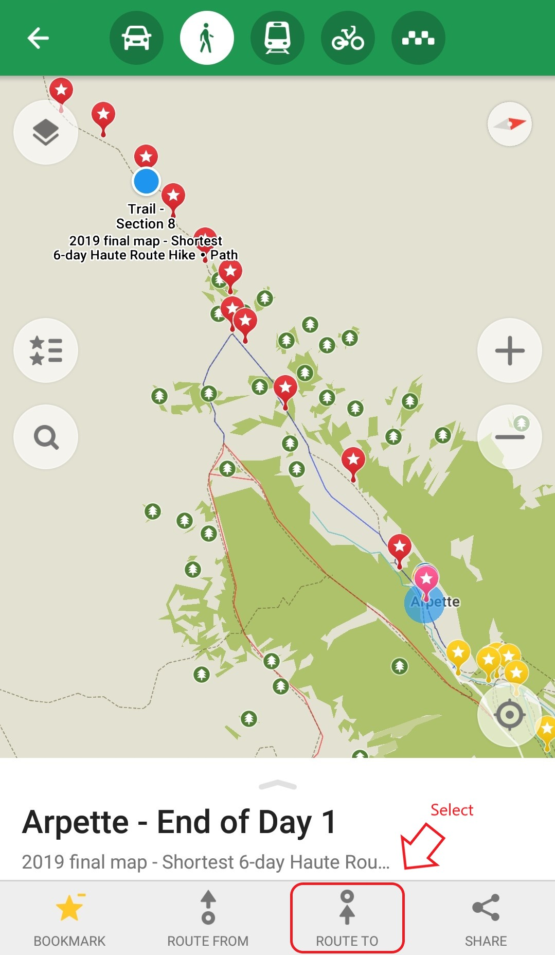 Walker's Haute Route:  When you are on the trail, select the location on the map you'd like to calculated the distance to and then click 'Route To'