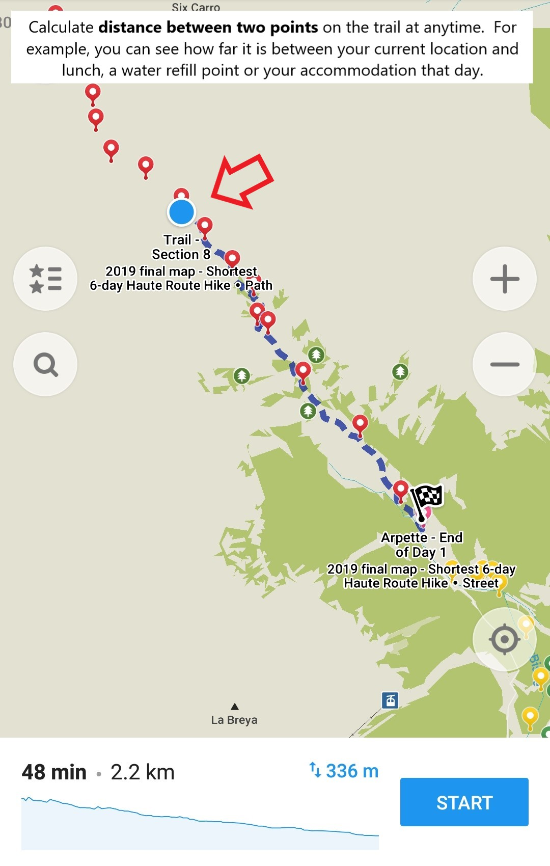 How to use your offline mobile map - Haute Route Hiking