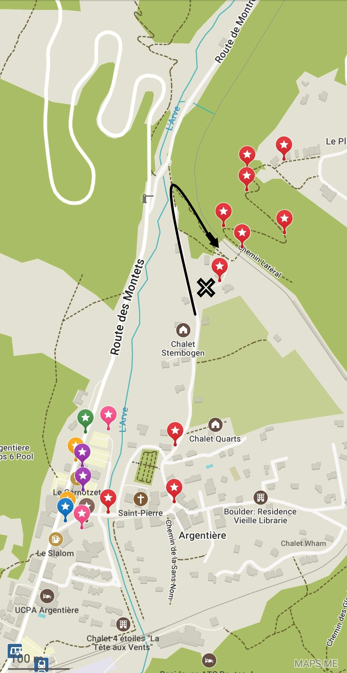 Minor detour after Argentiere:  Go around the garden by continuing a hundred feet further to the trail junction