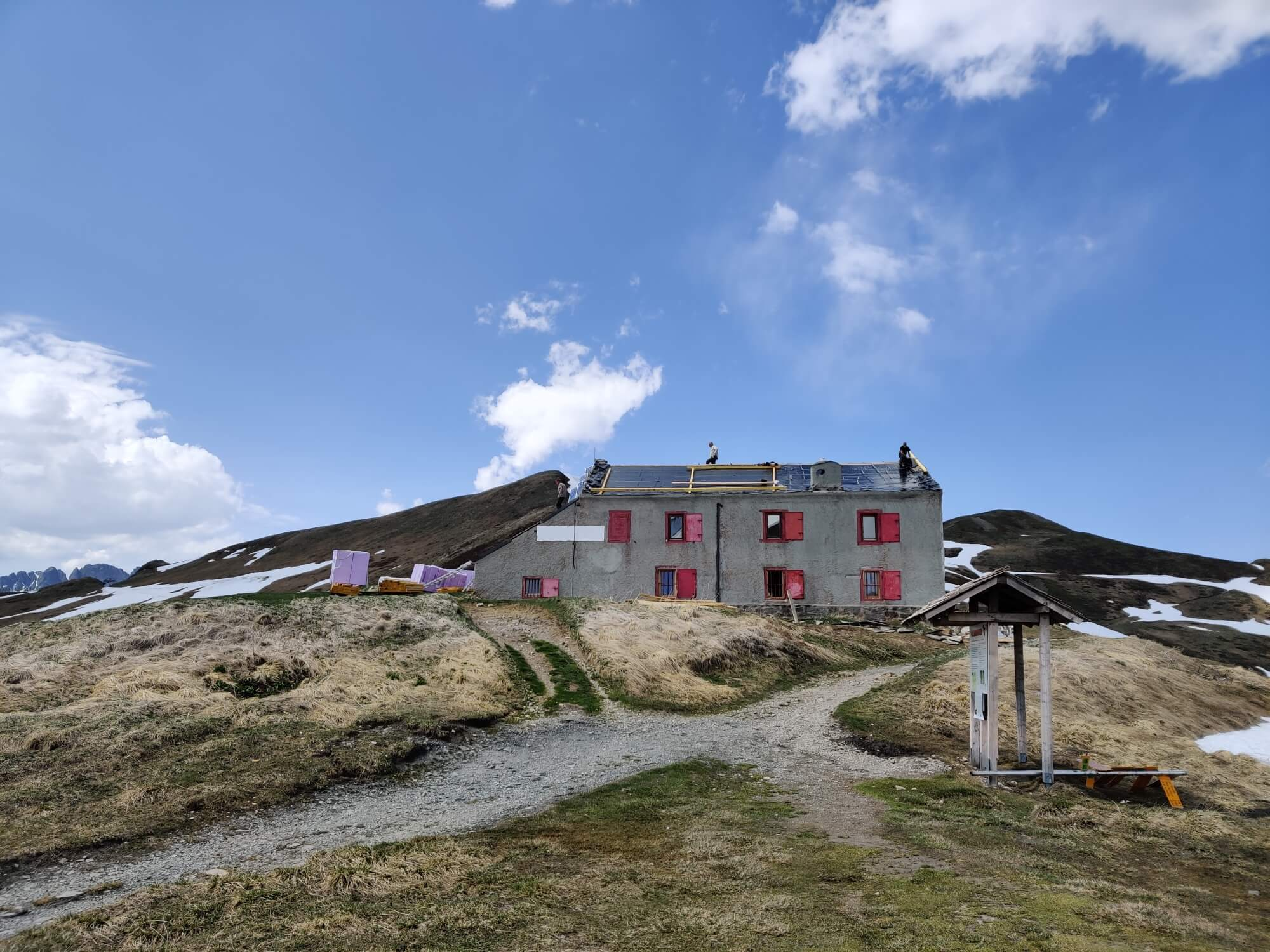 Refuge Col de Blame:  Hard at work with repairs and renovations before the hungry hikers arrive for the 2019 season.
