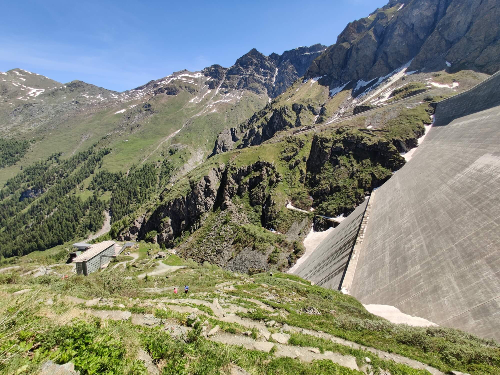 The dam wall holding Lac Des Dix:  This is where the bus will drop you off from Sion.