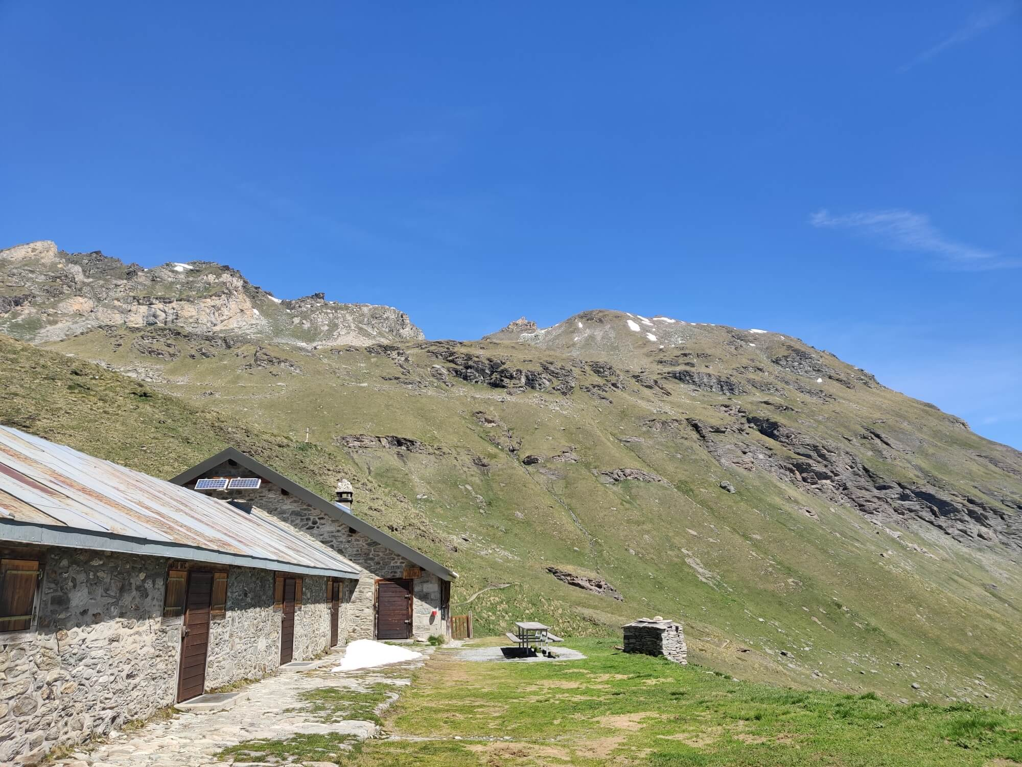 Refuge la Barma:  Col Des Roux can be seen in the low point of the mountain range in the background