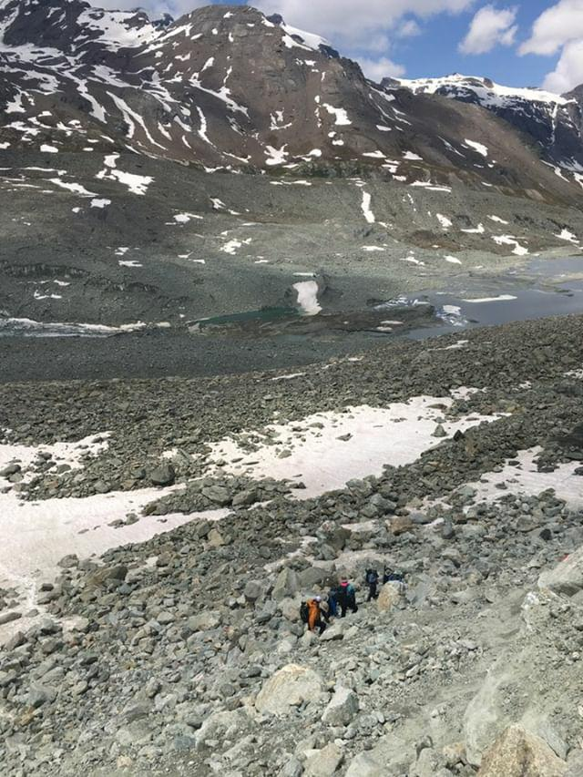 Pas de Chevres:  A group guided by Ella starting to make their way through the rocks (Photos courtesy of  @patagoniatiptop )