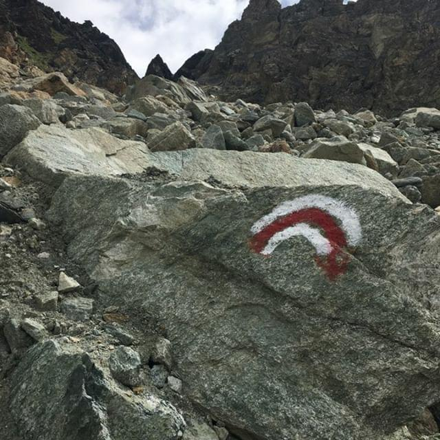 Pas de Chevres:  Follow the red and white markers to find your way through the rocks (Photos courtesy of  @patagoniatiptop )