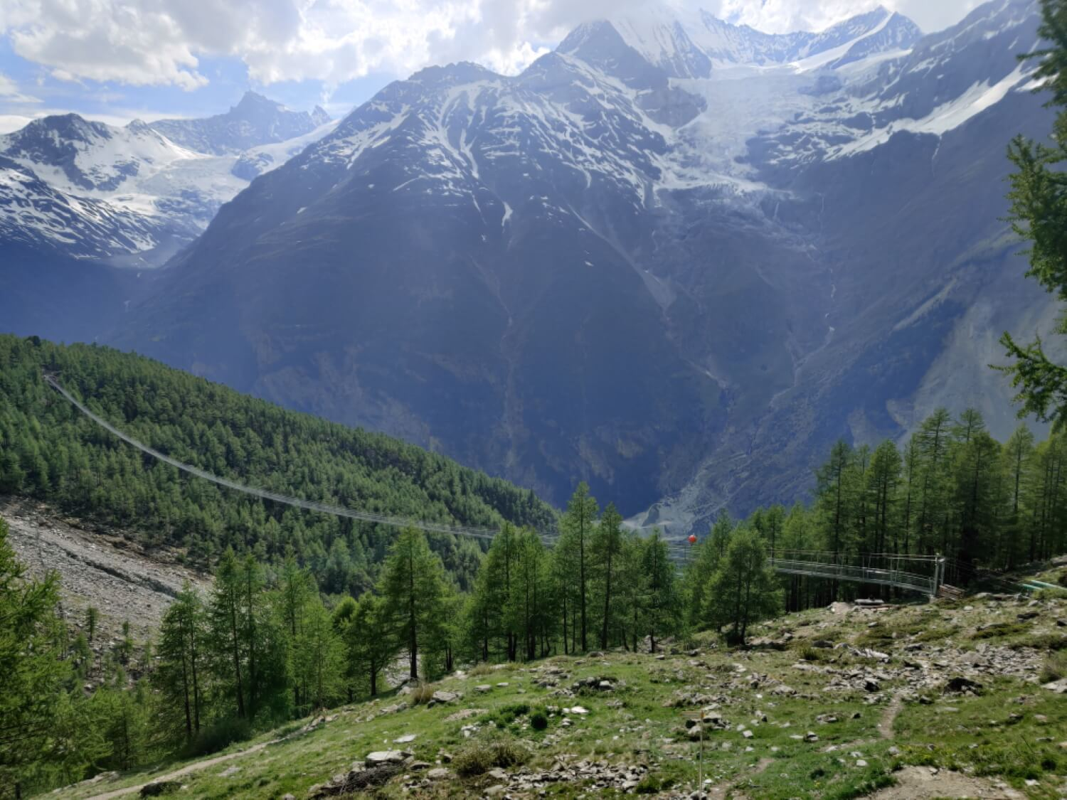 Charles Kuonen suspension bridge:  The Europaweg trail is open from the bridge to Zermatt