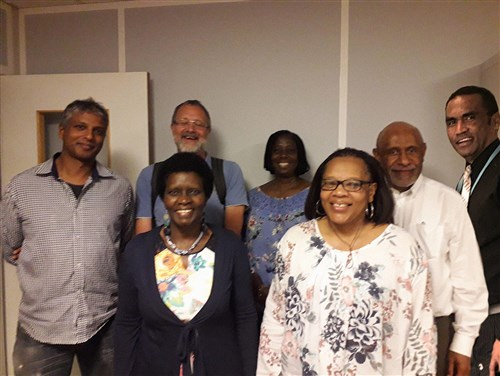 Les Anciens - Elders from left: Amar BRECKENRIDGE, Alan MACKENZIE, Elizabeth GACHUIRI, Mercy AHUN, Sheila ANAZONWU, Bonapas ONGUGLO, Temo WAQANIVALU