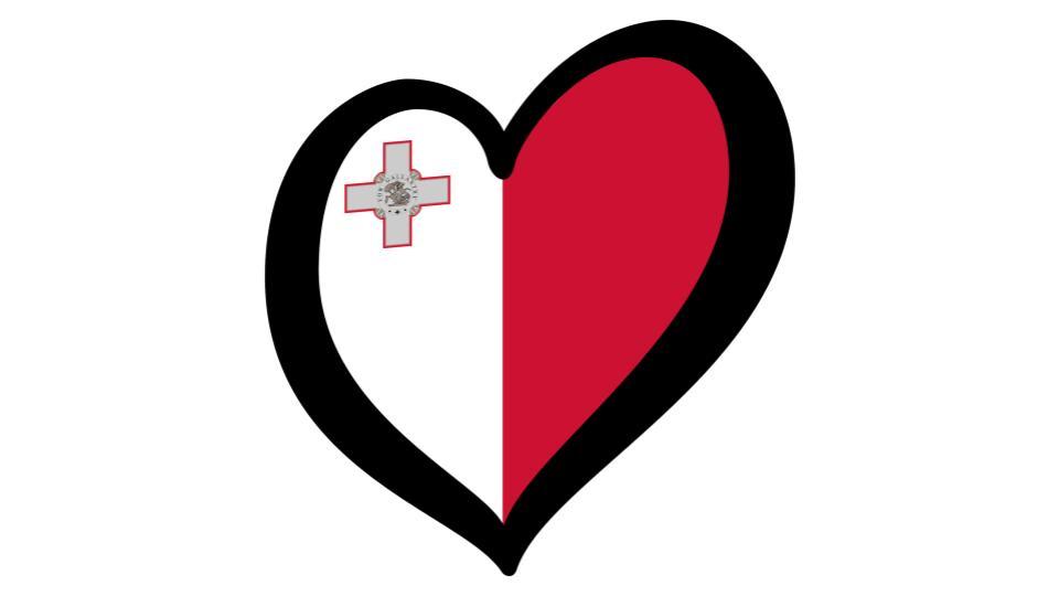Maltese flag in a heart, love malta