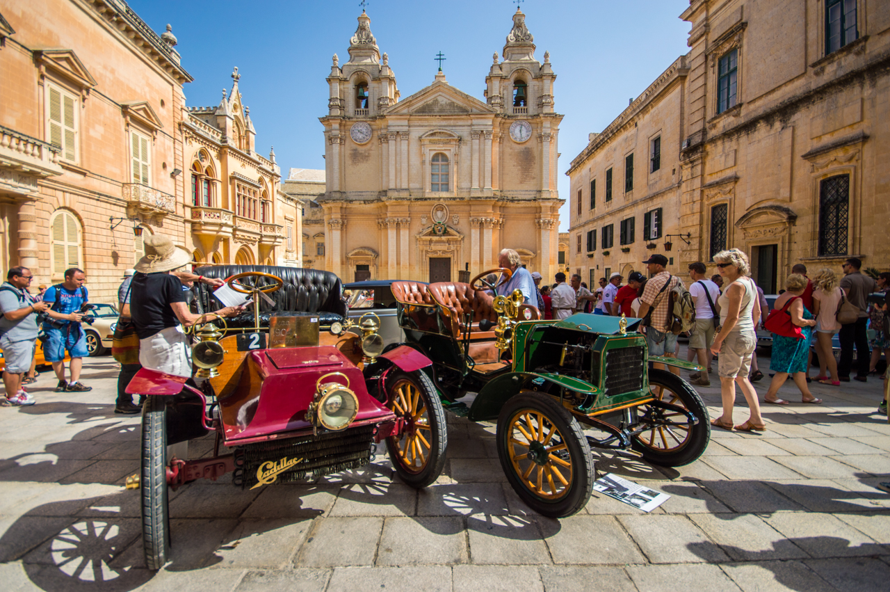 Antique automobiles during the mdina grand prix