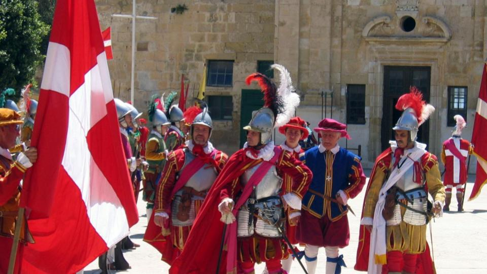 A traditional dress up routine in Mdina, knights of Malta