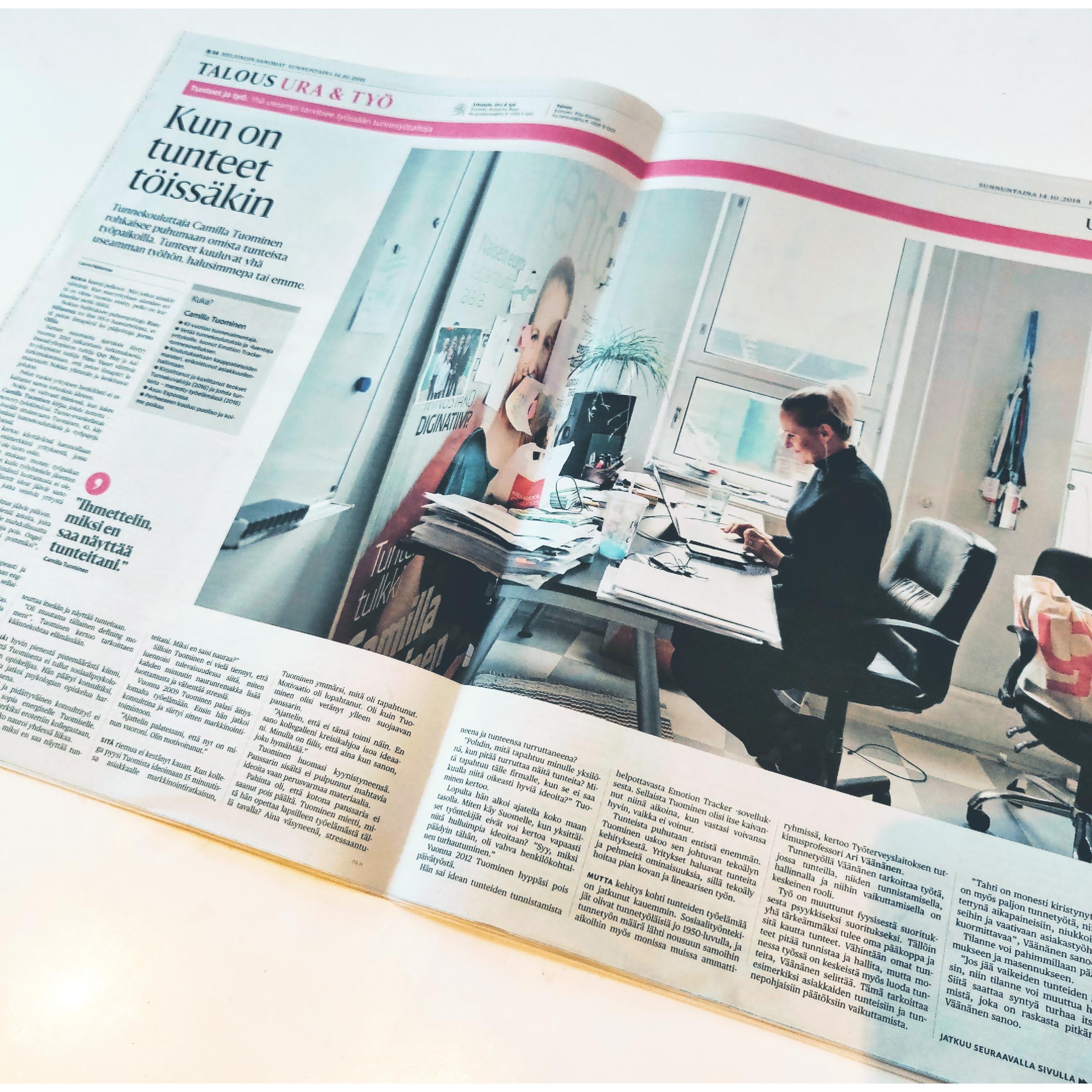 """Helsingin Sanomat:  """"Kun on tunteet työssäkin""""  15.10.18"""