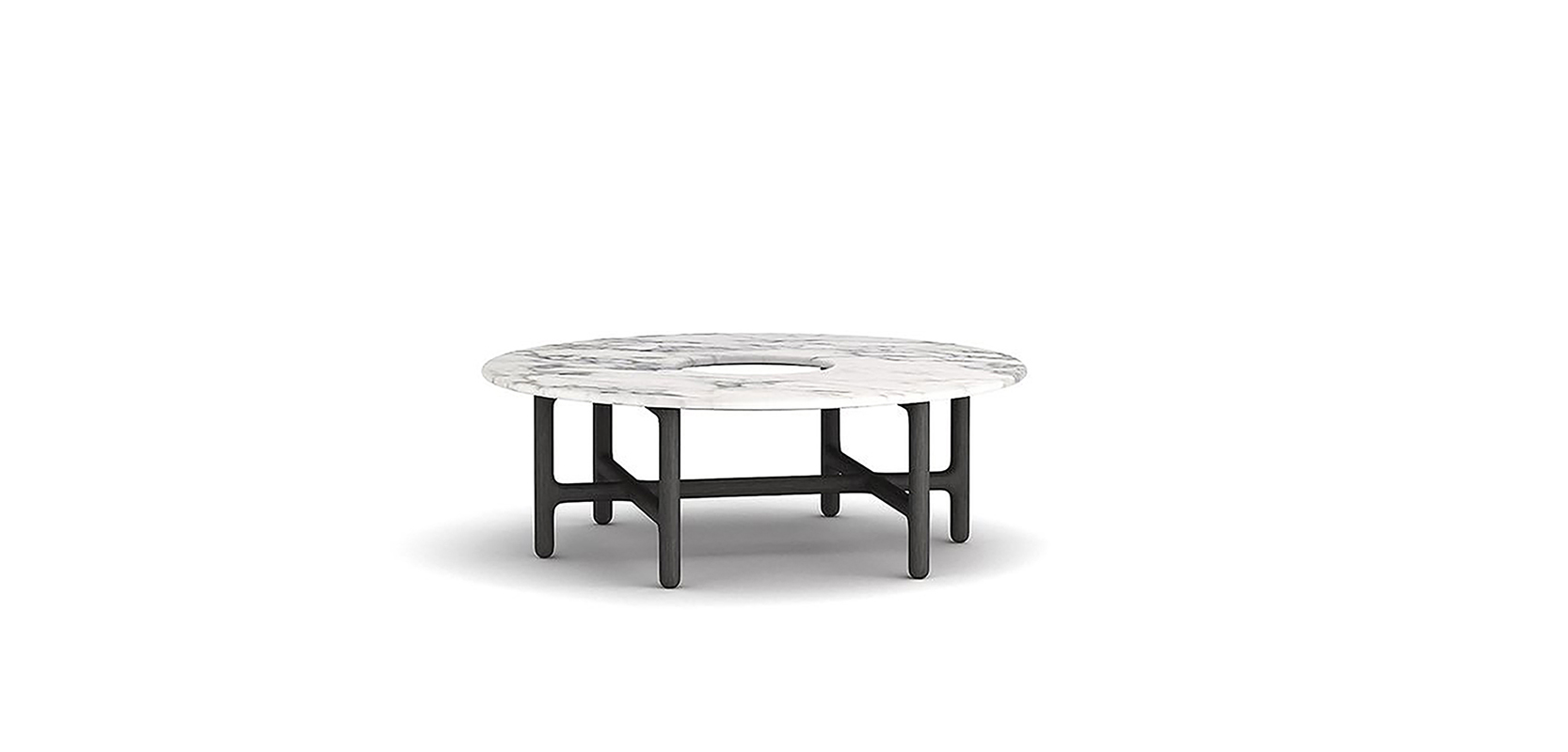 SUSON COFFEE TABLE BRAND:  ROLING LIANG CHEN  WEB:   www.roling.cn  It shows the oriental aesthetic concept with the shape of round desktop and square legs. A forest of crisscross legs under the table support the marble desktop just creates a sense of natural philosophy.