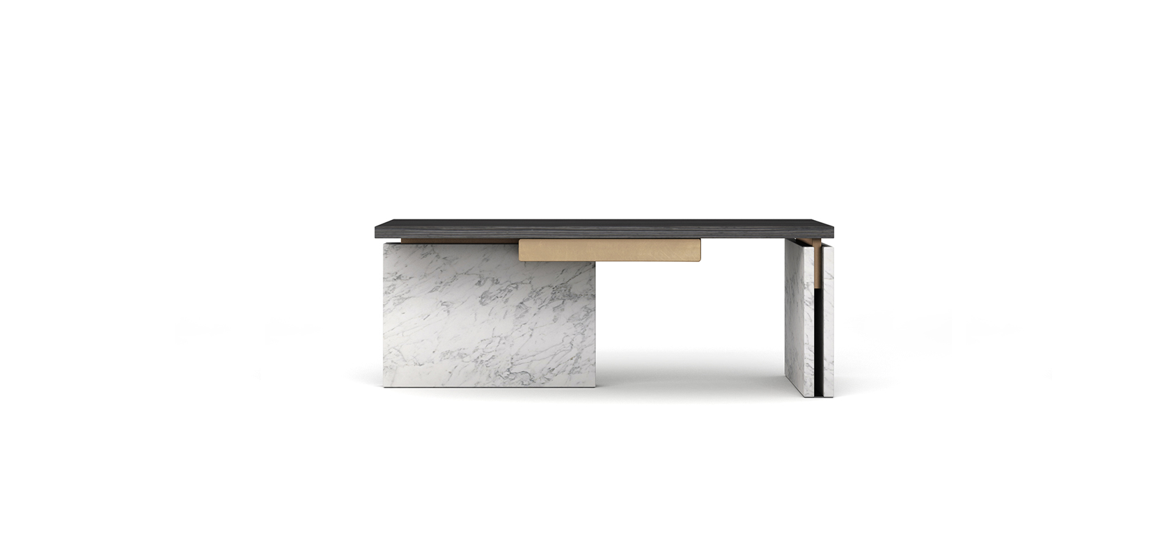RONG DESK BRAND:  ZIZAOSHE  WEB:   www.zizaoshe.com  RONG Desk is made of three different kinds of materials. Wood with dark texture, natural stone, combined with partial decoration of metal, shows steady stance while interpreting refined gentlemanly qualities.