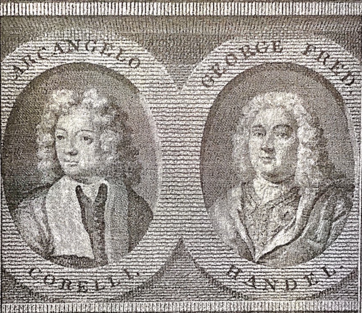 'Arcangelo Corelli and George Fred. Handel', (Gabrielle Enthoven Collection, Victoria and Albert Museum).