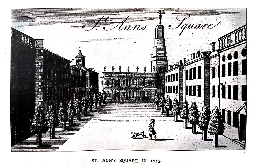 'St. Ann's Square, Manchester 1745' (Thomas Swindells, 'Manchester Streets and Manchester men, first series'..Manchester: Cornish Ltd., 1906).