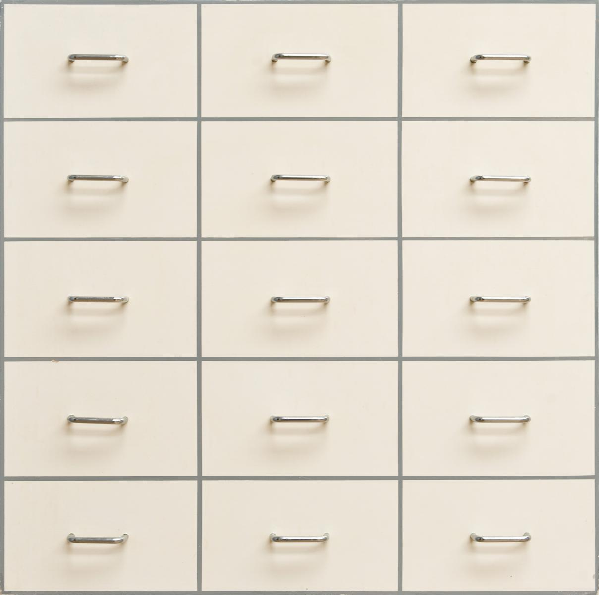 William Tillyer, Fifteen Drawer Pulls, 1966, Oil on panel construction, 88.9 x 88.9 cms (35 x 35 ins)