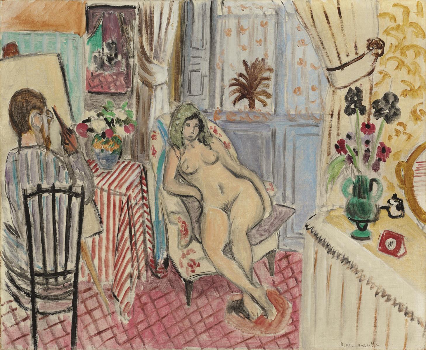 Henri Matisse,  L'artiste et le modèle nu , 1921, Oil on canvas, 60 x 73 cms (23 5/8 x 28 3/4 ins)