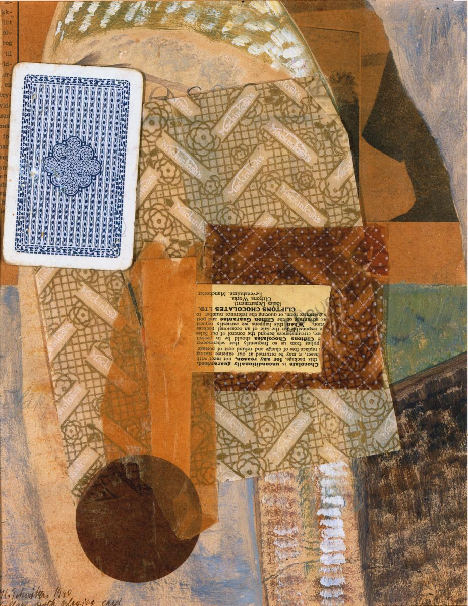 Kurt Schwitters,  Collage with playing card , 1940, Oil, paper and cardboard on card, 27.2 x 21.6 cms (10 3/4 x 8 1/2 ins)