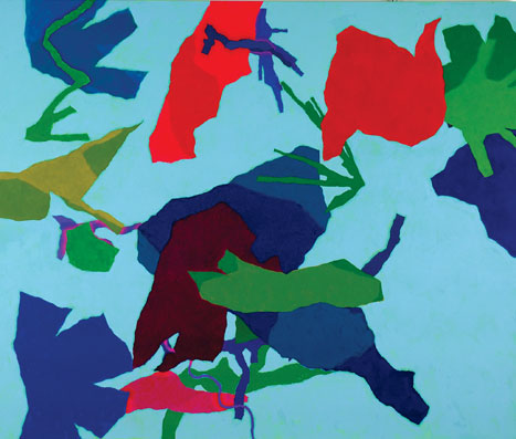 Harold Cohen,  Background Paradox , 2010, Oil over pigment ink on canvas, 128.3 x 153.7 cms (50 1/2 x 60 1/2 ins)