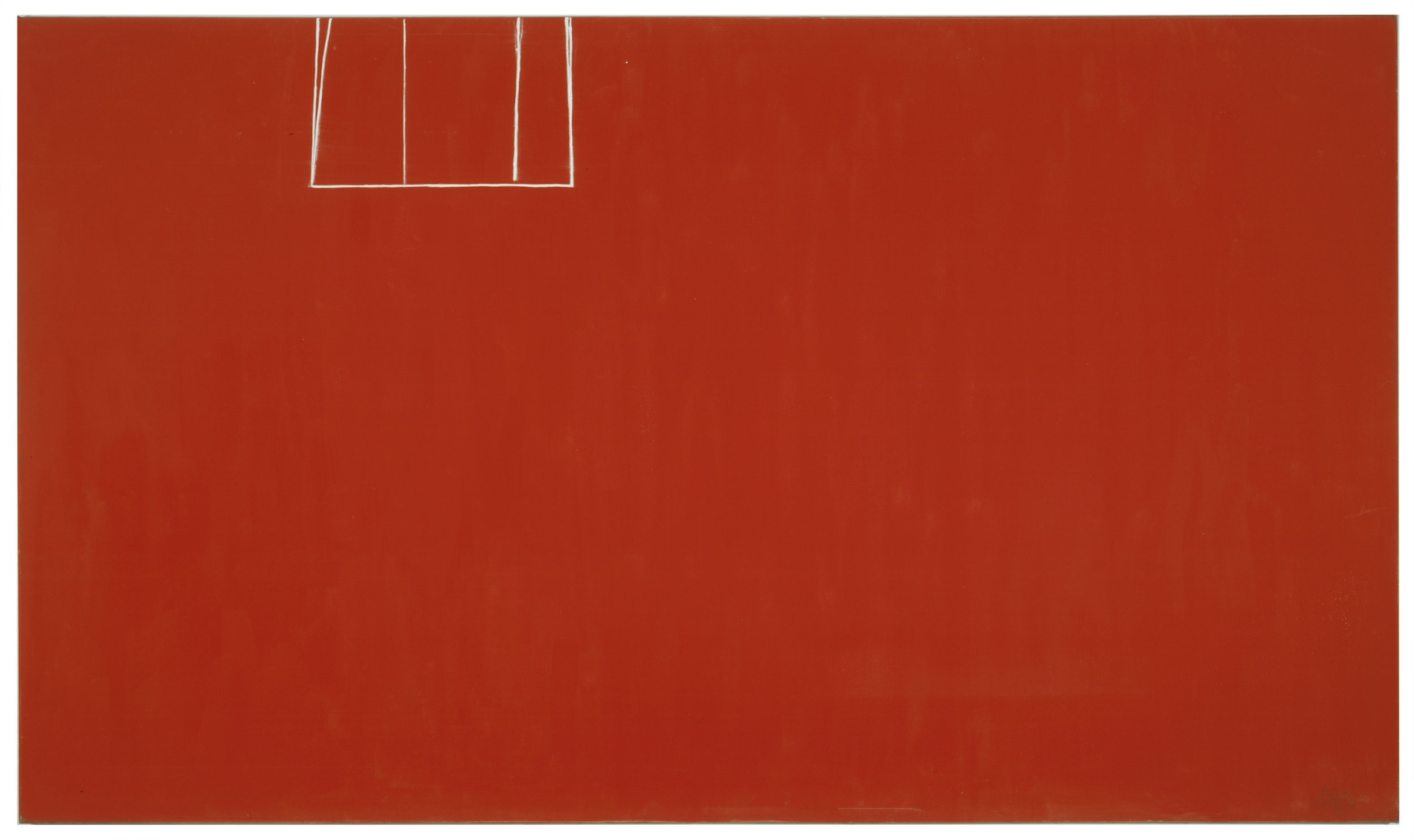 Open No. 153 (In Scarlet with White Line), 1970, Acrylic on canvas, 219.7 x 378.5 cms (86 1/2 x 149 ins)