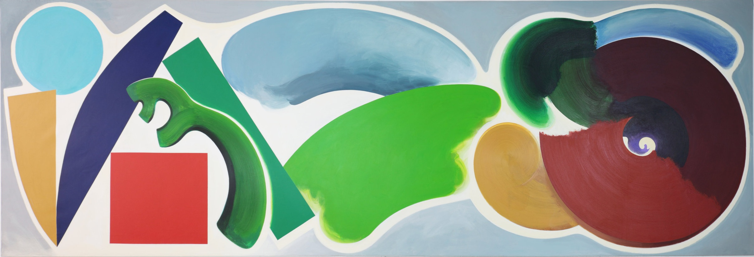 William Tillyer,  The Wildenstein Hermitage , 1990, Acrylic on canvas, 274.5 x 823.5 cms (108 x 324 1/4 ins)