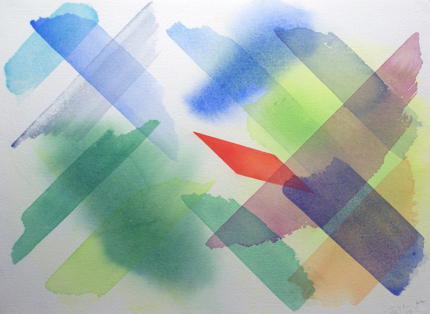 William Tillyer,  Remember that Primitive Cottage Feeling 4 , 2009, Watercolour on paper, 57.2 x 76.2 cms, (22 1/2 x 30 ins)