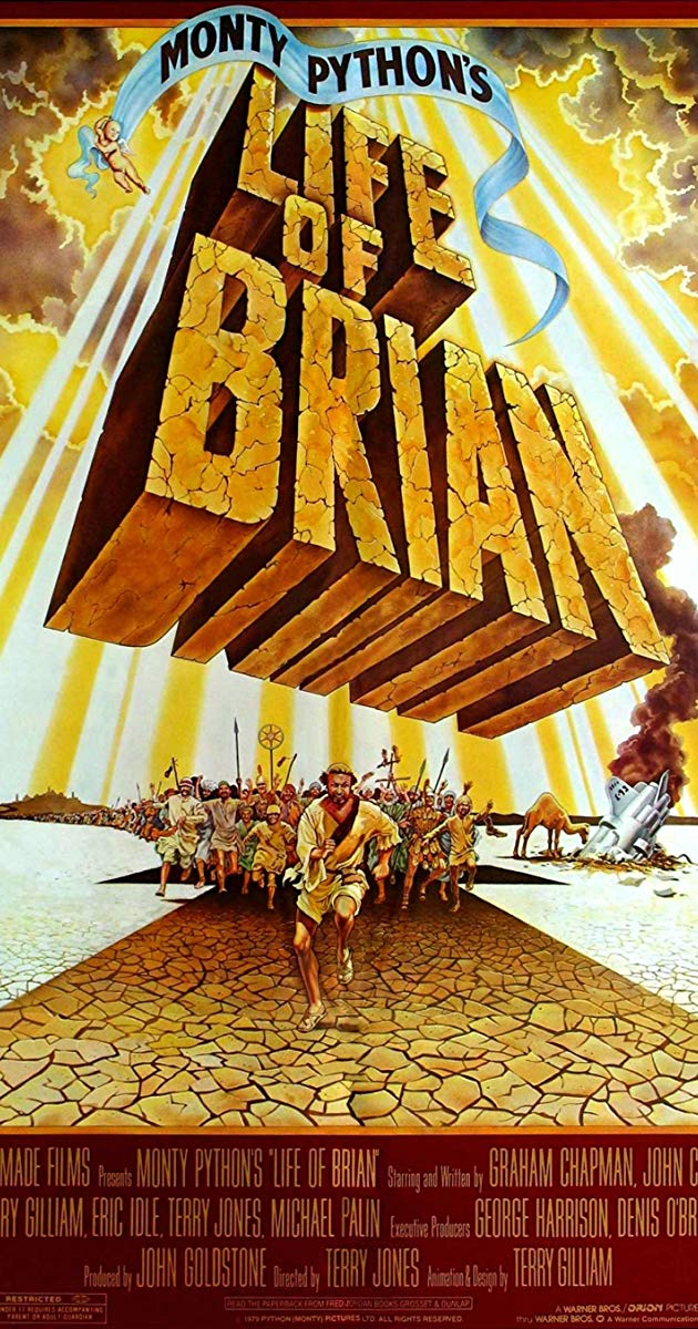 Monty Python's Life of Brian  | The film tells the story of Brian (Graham Chapman), a reluctant would-be messiah who rises to prominence as a result of a series of absurd and truly hilarious circumstances providing ample opportunity for the entire ensemble to shine in multiple roles as they mock everyone and everything from ex lepers, Pontius Pilate and the art of haggling to crazy prophets, Roman centurions and crucifixion.