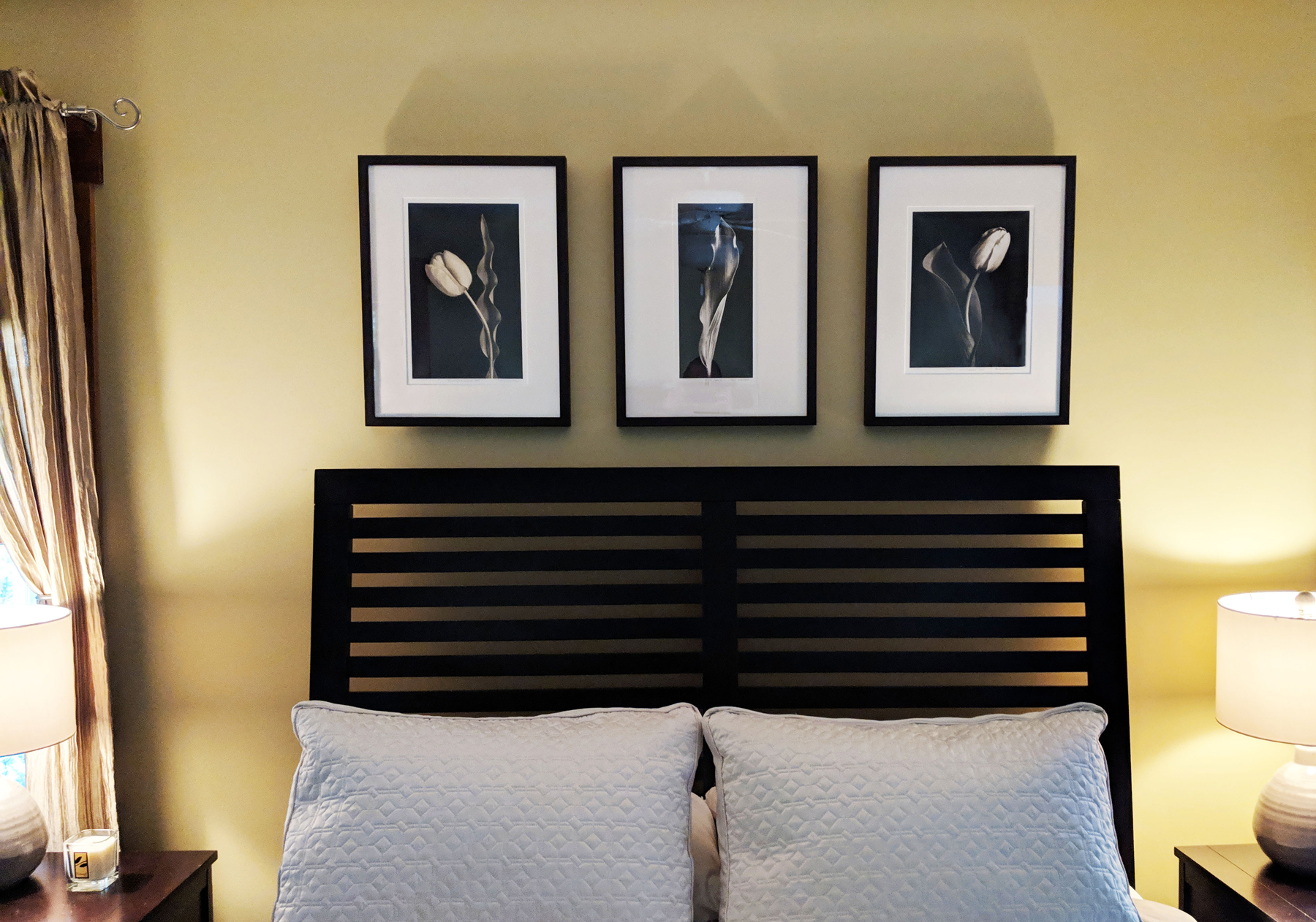These three palladium prints were purchased for display as a focal point in a bedroom of one of my collectors.
