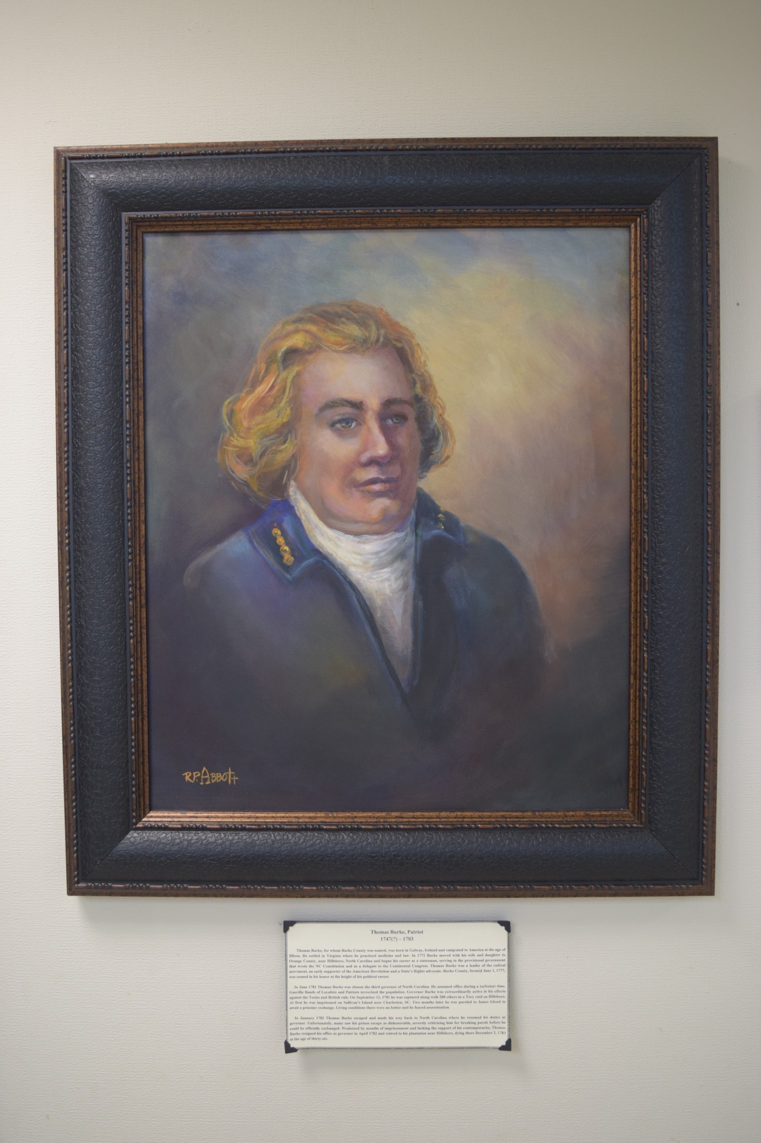 Painting of Thomas Burke, whom Burke County is named after, that hangs in the History Museum of Burke County lobby.