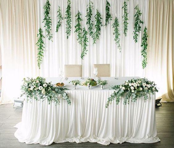 White & Green - Eucalyptus, white flowers and long white draping