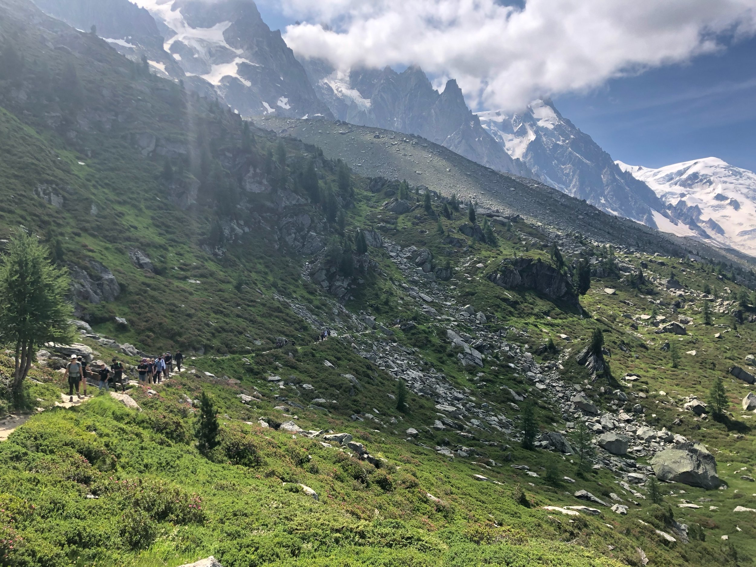 Students hiking above the Chamonix Valley