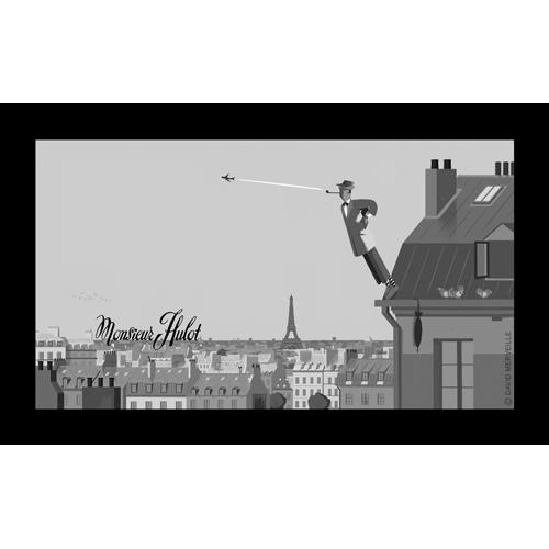 """Sérigraphie Aplanos """"M. Hulot sur les toits"""""""