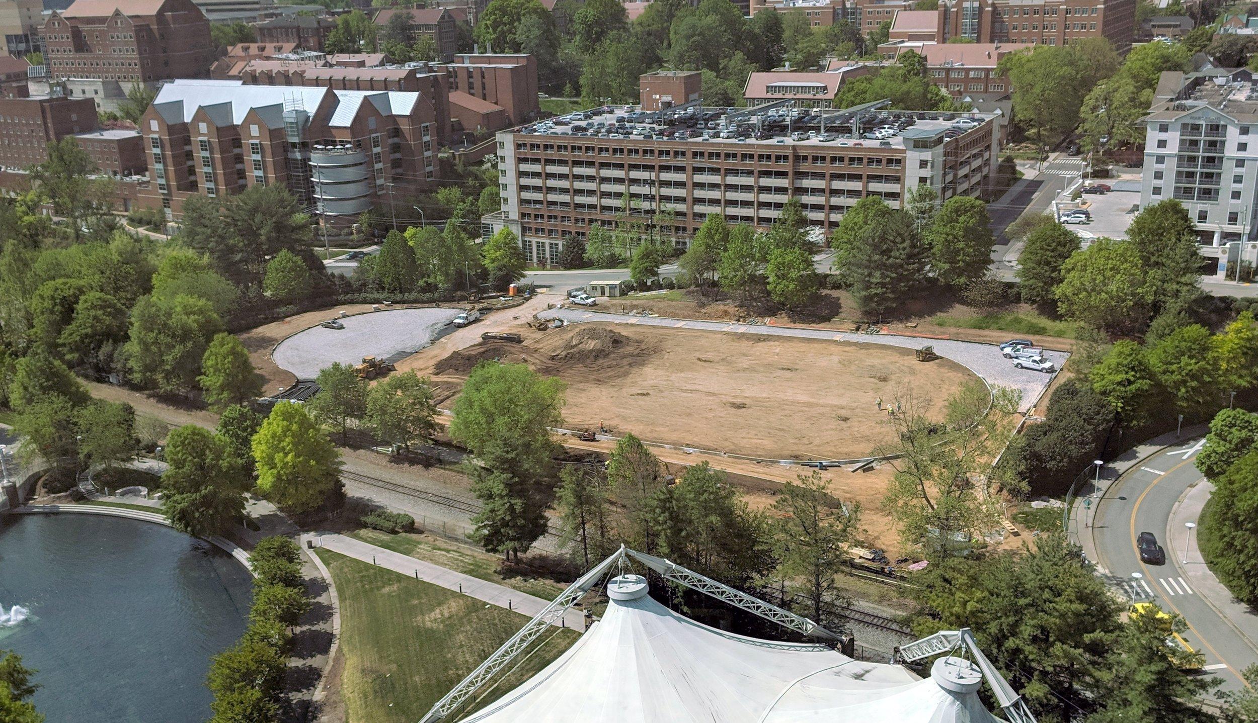 April 18, 2019 -- Concrete Curbing Complete; Permeable Paver Subbase Installation & Lawn Fine Grading Underway