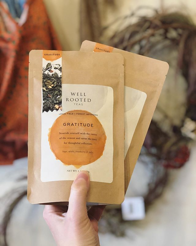 Gratitude is in the house. ✨ We're welcoming one the season with lots of local goodness to celebrate cozy moments. Come stock up on teas, candles, wreaths, a precious mug or two to keep you feeling warm and cherished. #hygge #seasonal #cozy #shoplocal #supportsmallbusiness @wellrootedteas