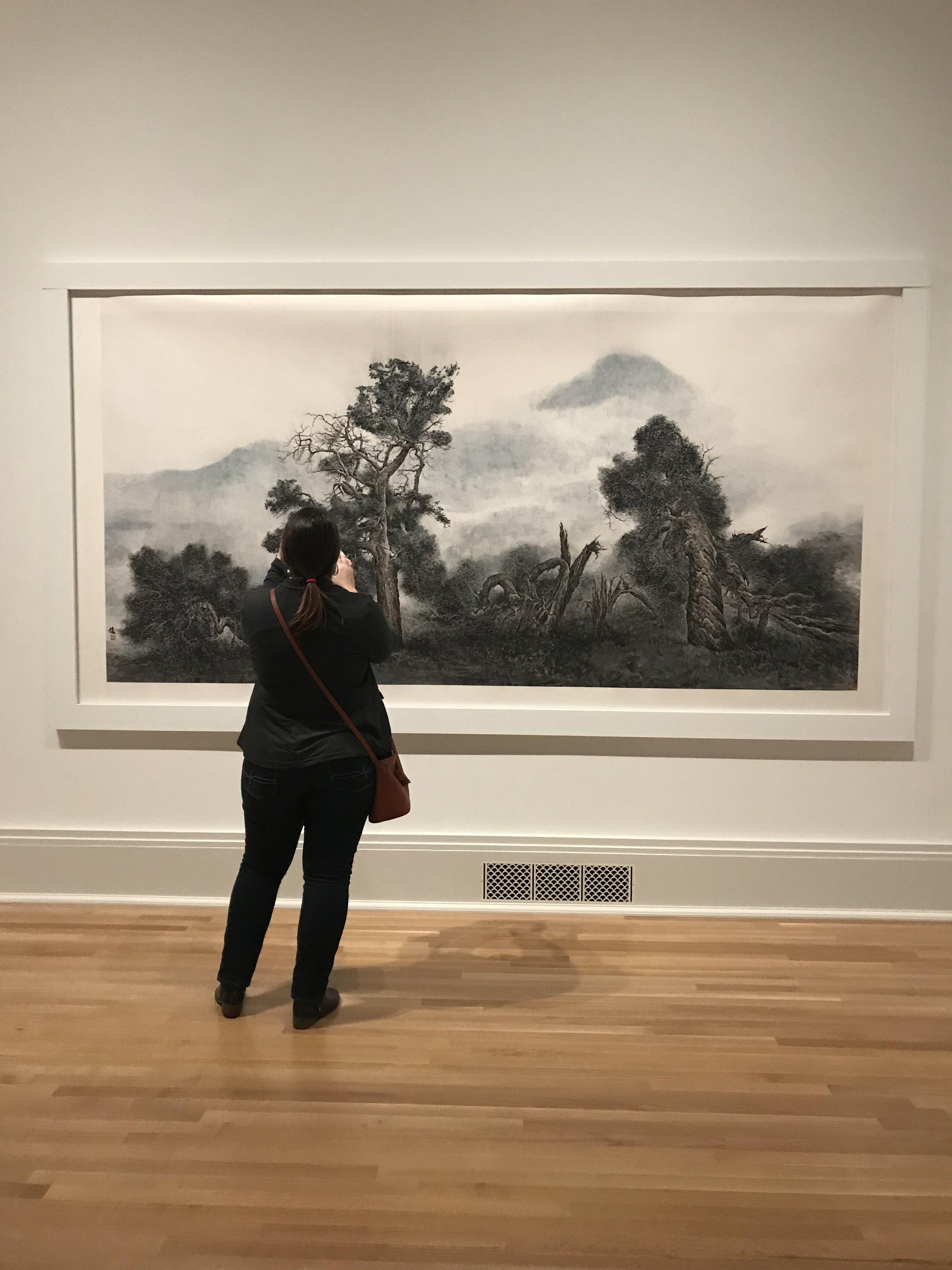 """Zheng Xiaojun, """"Zing Zi Gu Guam (Clear, Wondrous, Ancient, Strange), 2004. Elizabeth for scale."""