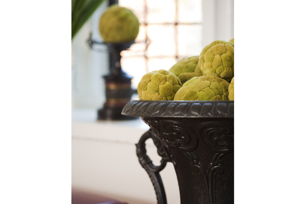 Contemporary Tudor Living room moss ball detail.jpg