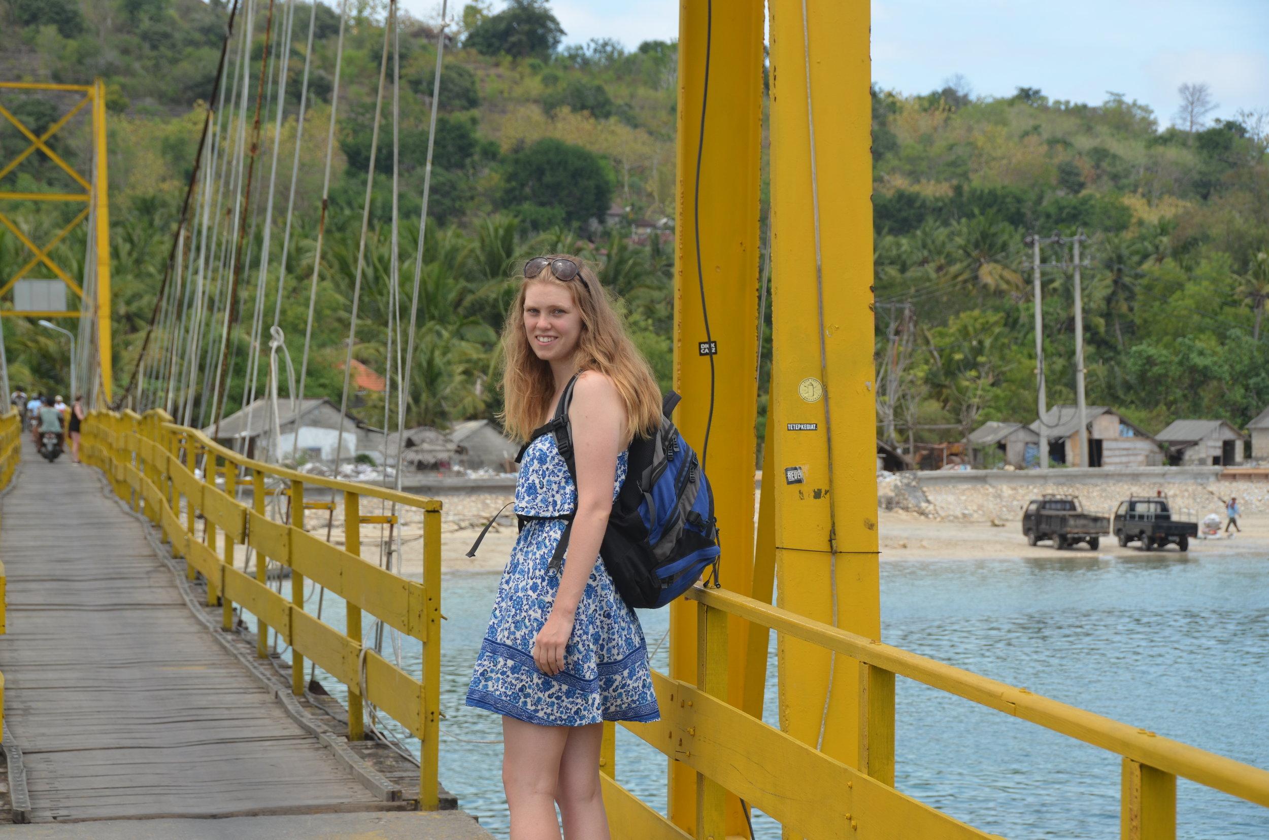 Crossing the Yellow Bridge onto the island of Nusa Ceningan in Indonesia