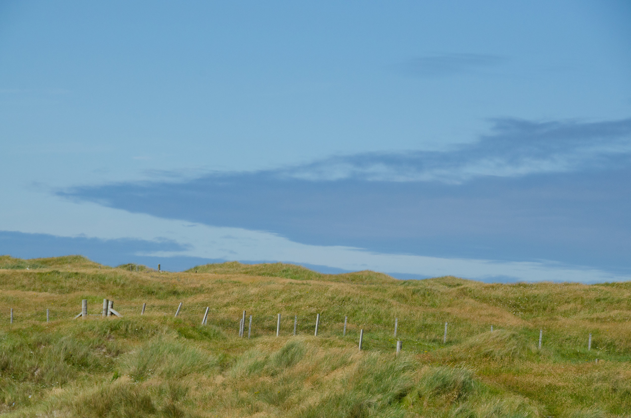 Blue skies above the sand dunes