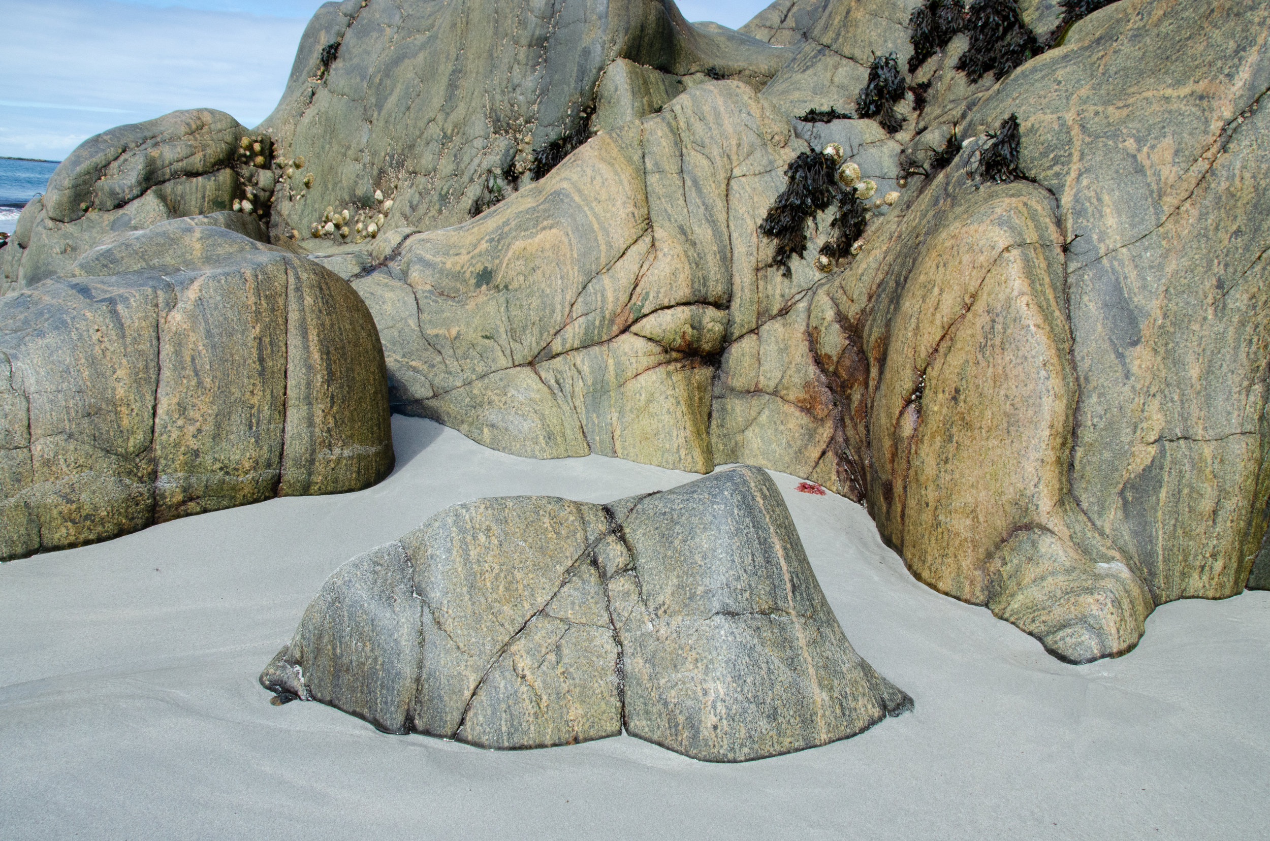 The swirly-patterned rocks at the Maze Beach almost looked like they were melting into the sand.
