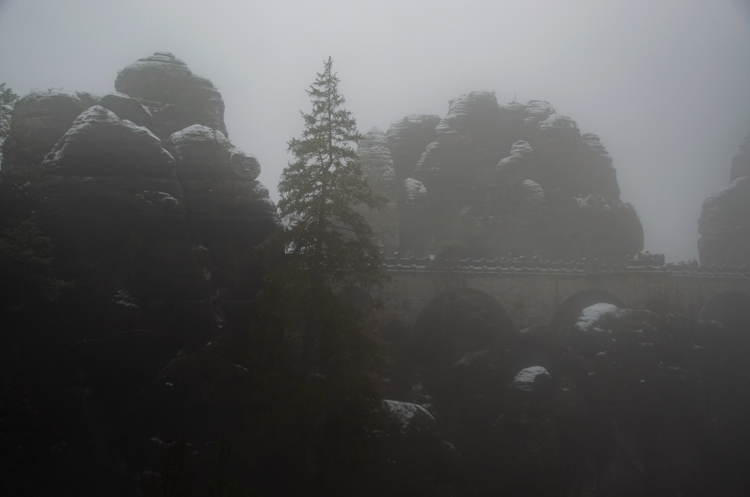 Despite the deep veils of fog, we could just make out the famous Bastei Bridge lurking through the gloom