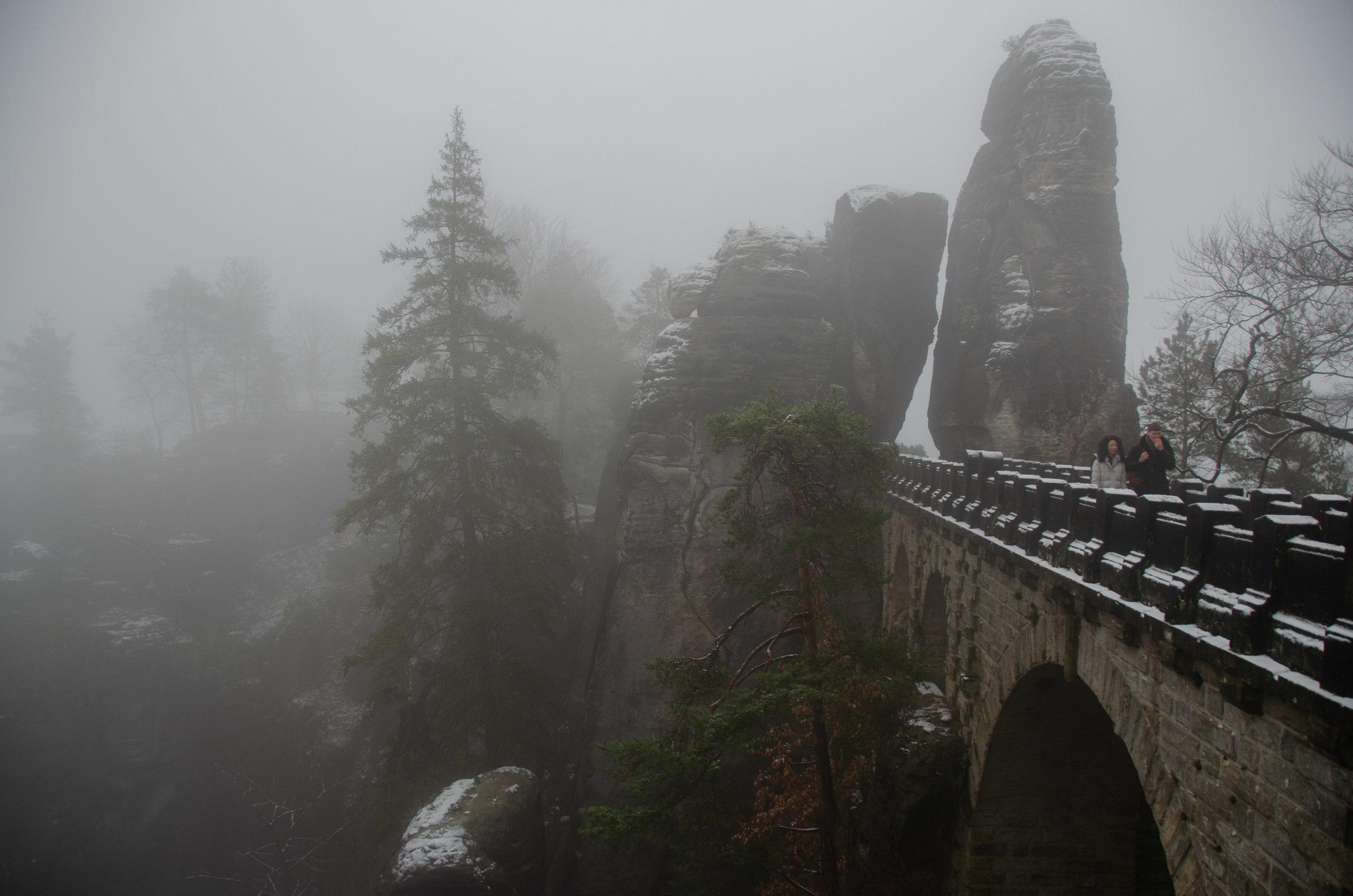 The Bastei Bridge- rising out of the fog