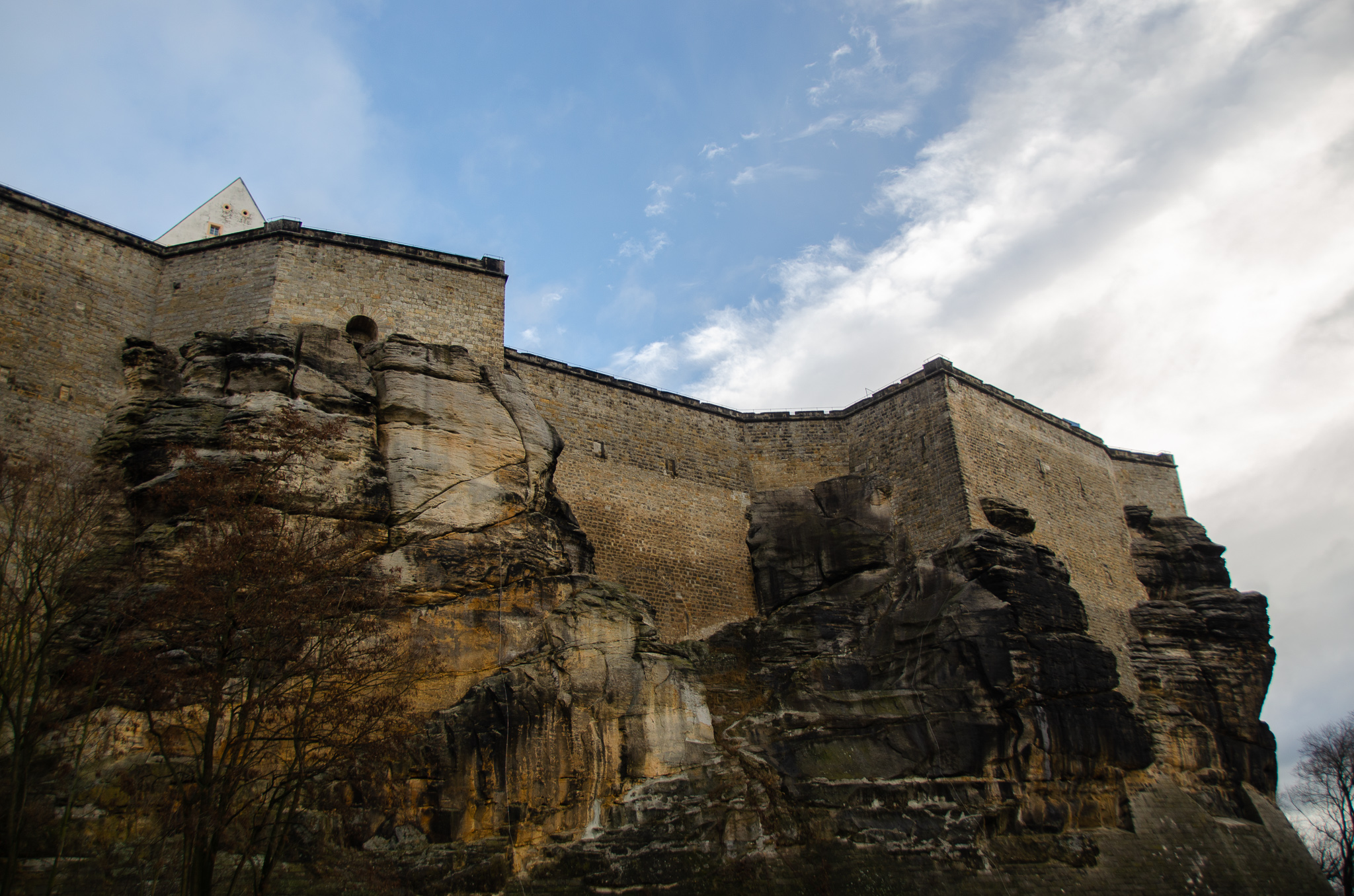 Looking up at the fortress, on our ascent up from Königstein