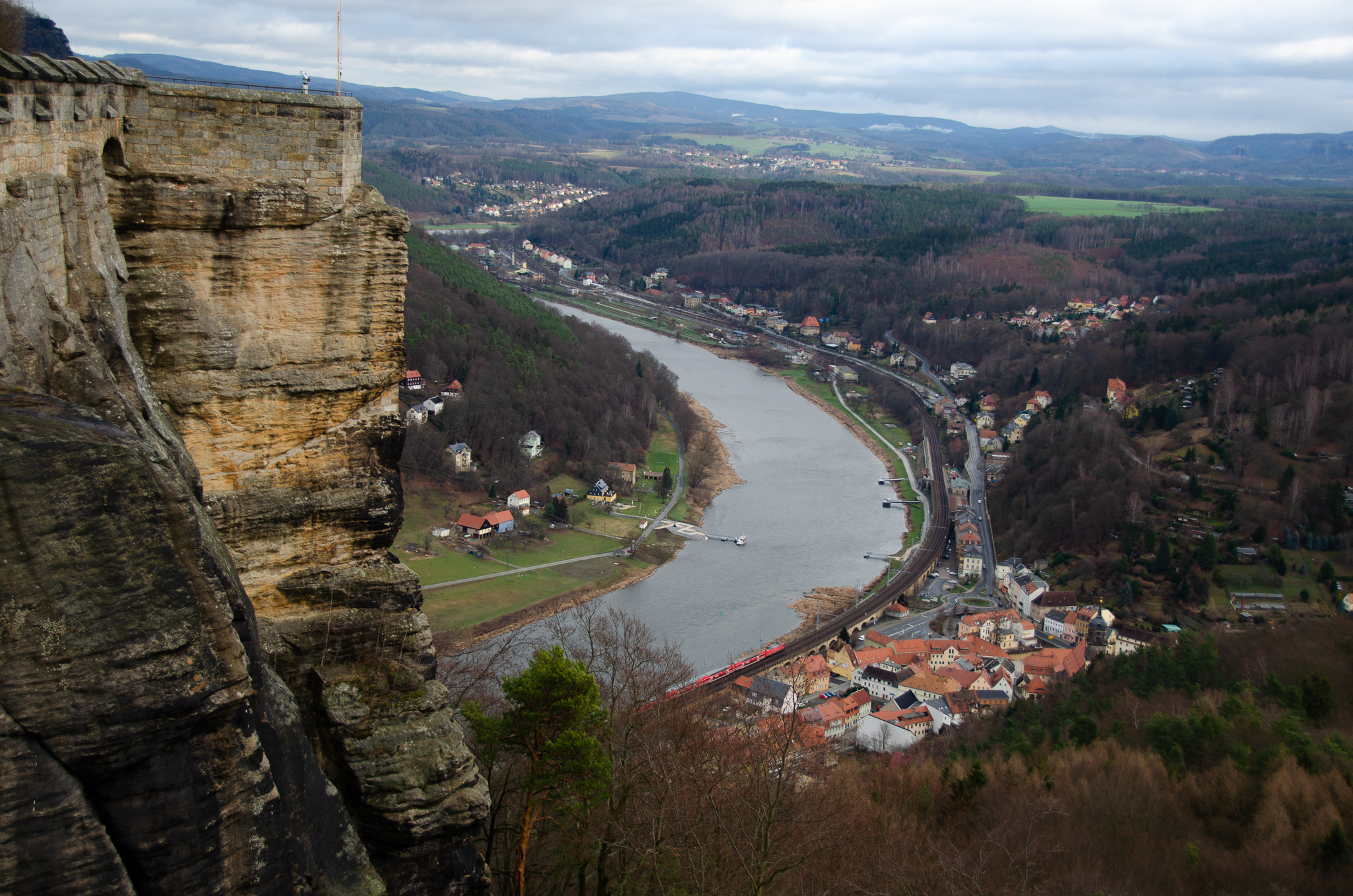 Gazing down on the town of Königstein below as the train passed by