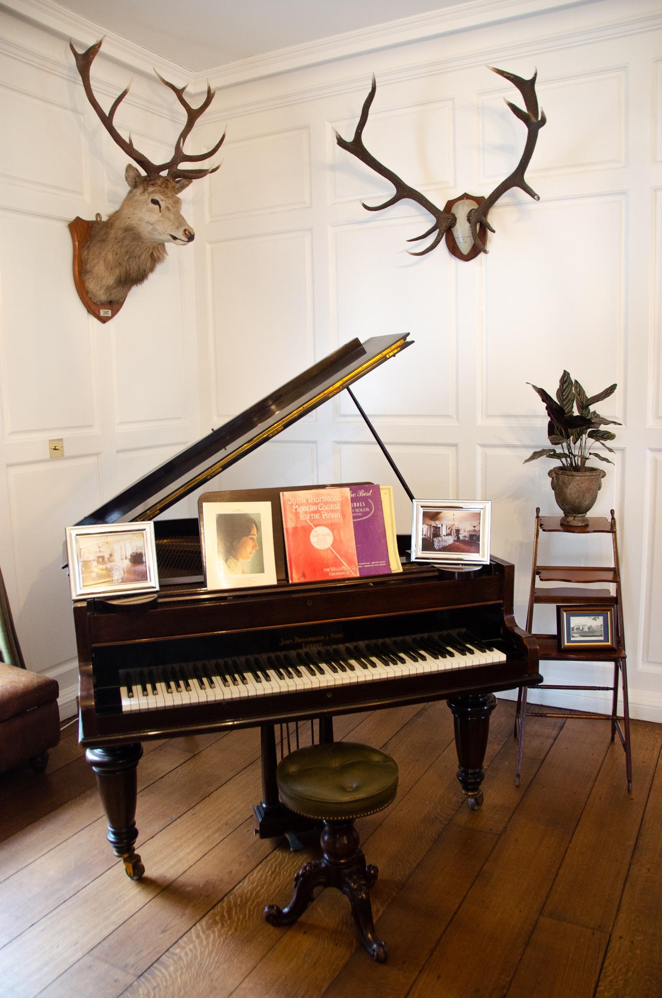 The grand piano in reception.