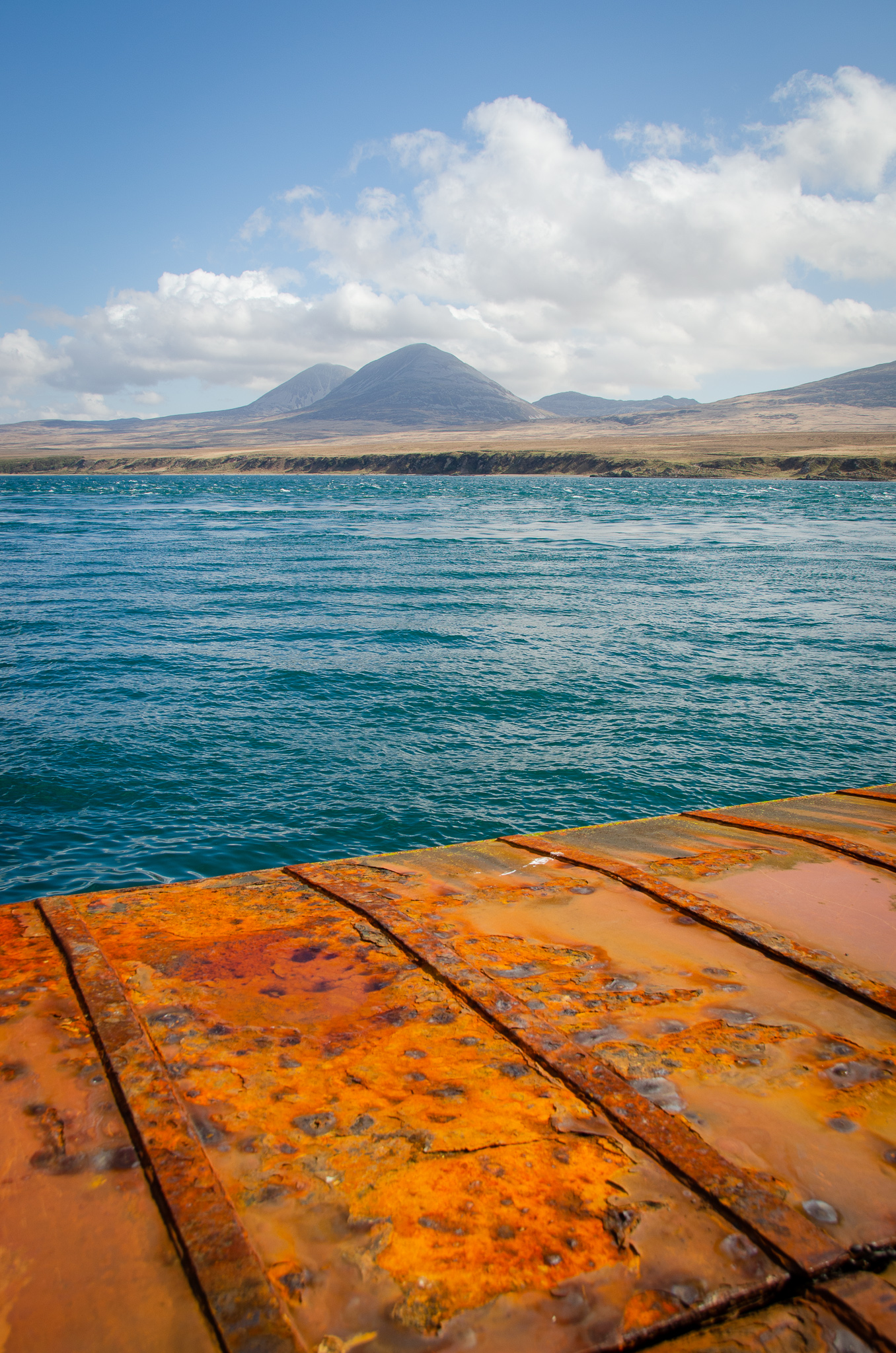 the View from the ferry terminal across to the paps of Jura