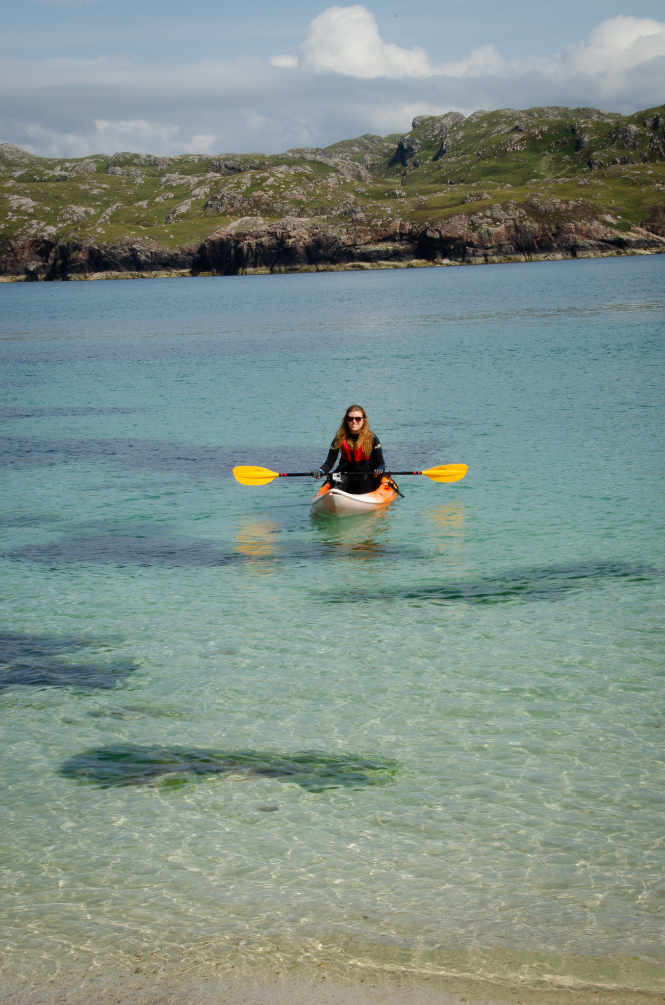 Arriving at Handa island by kayak- the water was clear as could be.