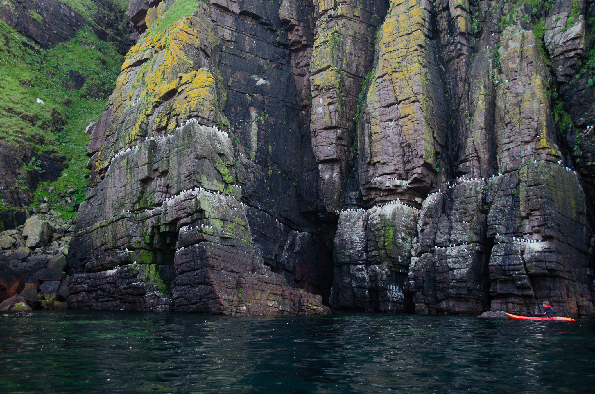 Can you spot the kayak? what an amazing kayaks'-eye view up at the cliffs