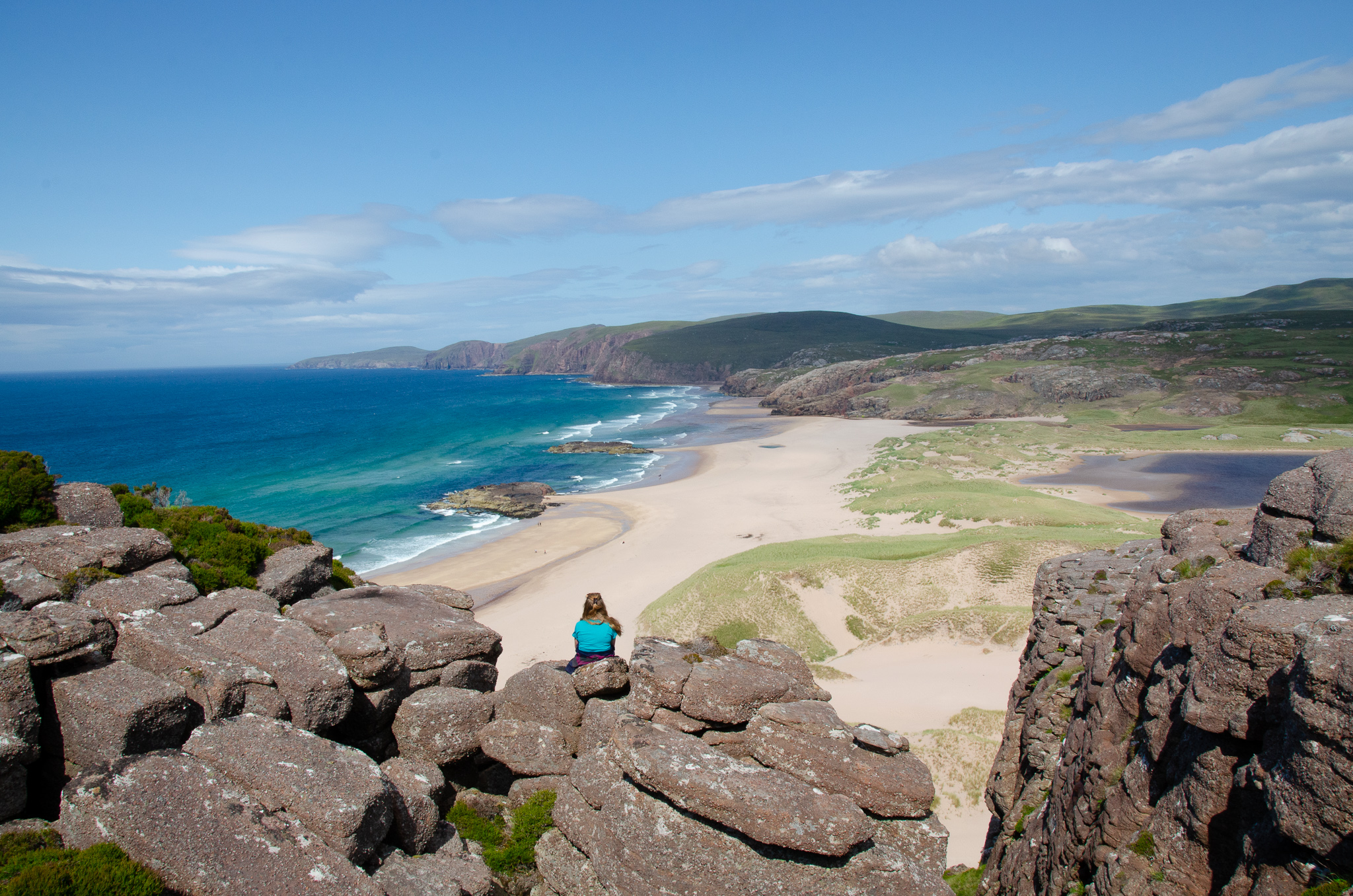 worth the climb up! breathtaking views across Sandwood Bay from our rocky outpost