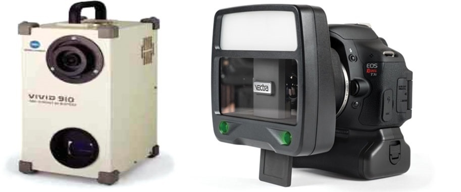 The traditional laser scanner (left) is now being replaced by the stereophotogrammetry device (right) to produce high-quality 3D images in milliseconds (   Source   ).