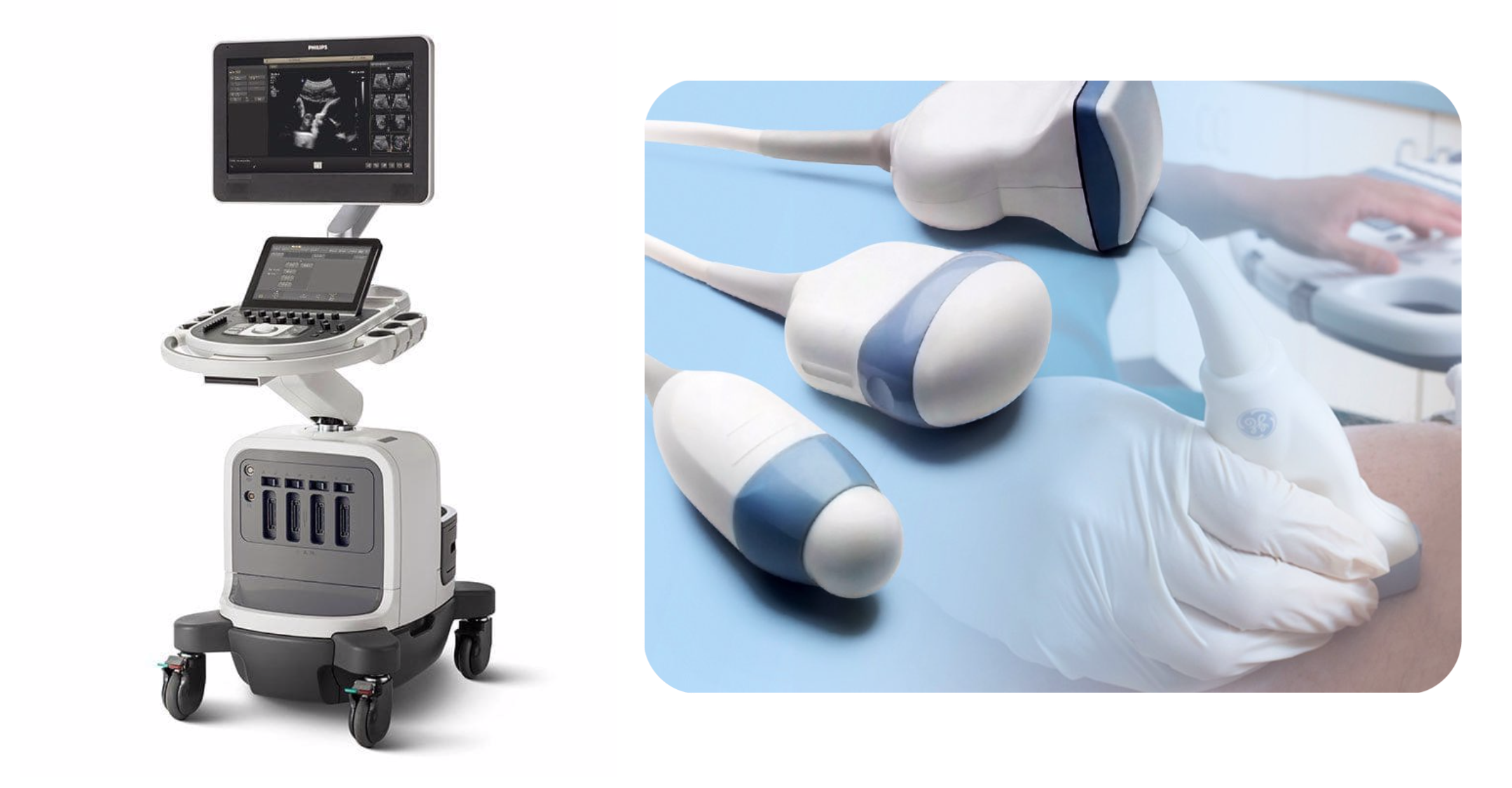 An ultrasound machine (L) and the transducer probe used for imaging (R).  (Sources for  ultrasound machine  and  transducer )